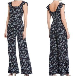 Floral Print Jumpsuit Square Ruffle Neck Size XL
